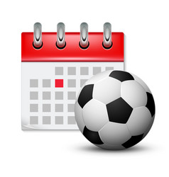 sport calendar and soccer realistic foot ball vector image