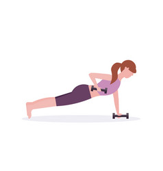 sports woman doing dumbbells plank exercise girl vector image