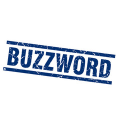 Square grunge blue buzzword stamp vector