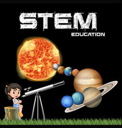 Stem education poster design with girl and solar vector
