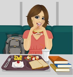 student having lunch in fast food restaurant vector image