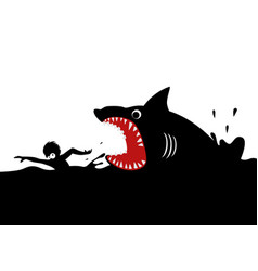 Swimming panicly avoiding shark attacks vector