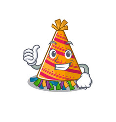 Thumbs up party hat with in cartoon vector