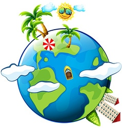 Vacation theme with scenes on earth vector