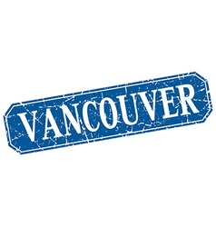 Vancouver blue square grunge retro style sign vector