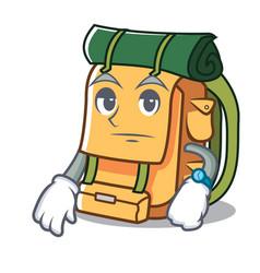 Waiting backpack mascot cartoon style vector