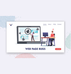 Web page bug landing page template programmer vector