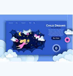 web site paper art design template child vector image
