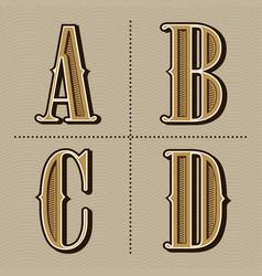 Western alphabet letters vintage design a b c vector