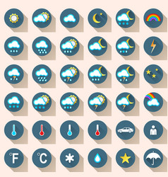 Wheather set flat icon snow rain sun cloud car vector