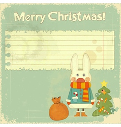 white hare and the Christmas tree vector image