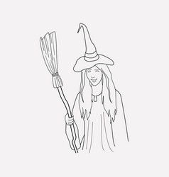 Witch icon line element of vector