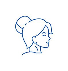 woman face profile line icon concept woman face vector image