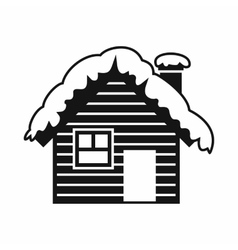 Wooden house covered with snow icon simple style vector