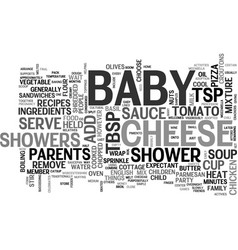 Baby shower recipes text word cloud concept vector