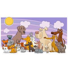 cartoon funny dog and cats group vector image