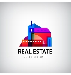 colorful geometric building logo vector image vector image