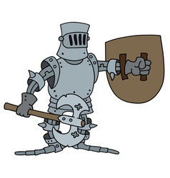 Funny knight with a war axe vector image vector image