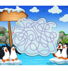 Game template with penquins on iceberg vector image vector image