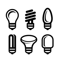 Light Bulb Icons Set on White Background vector image vector image