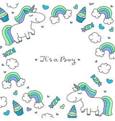 unicorns and rainbows frame vector image