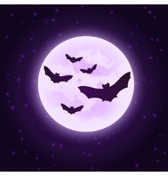Bats with moon halloween vector