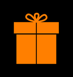 gift sign orange icon on black background old vector image