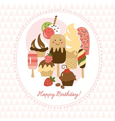 Greeting card with cute ice-cream and cakes vector image vector image