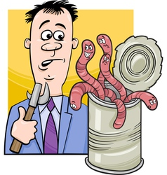 open can of worms saying cartoon vector image