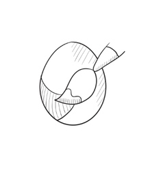 Painting of easter eggs sketch icon vector image vector image