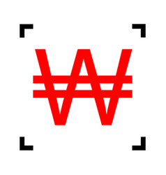 won sign red icon inside black focus vector image