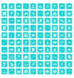 100 hacking icons set grunge blue vector image