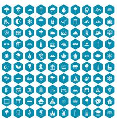 100 scenery icons sapphirine violet vector image vector image