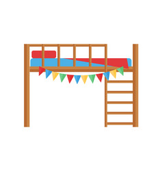 comfortable bunk bed cozy baby room decor children vector image