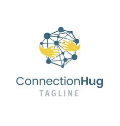 connection hug logo template vector image vector image