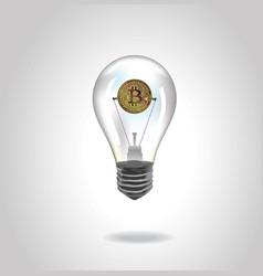crypto currency golden coin in glass lamp vector image
