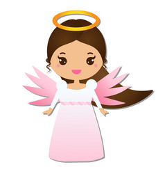cute angel kawaii style paper figure sticker vector image