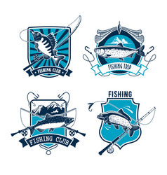 fishing sport club emblem with fish and rod vector image