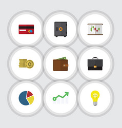 Flat icon finance set of payment billfold vector