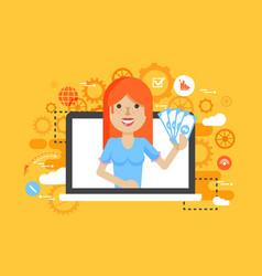 woman money in hand online vector image vector image