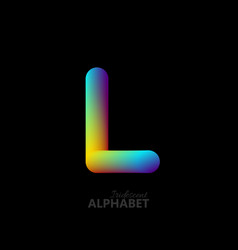 3d iridescent gradient letter l vector image vector image