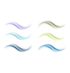 abstract colored wave set on white background vector image