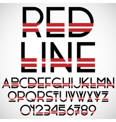 Black and red font with numbers vector image vector image