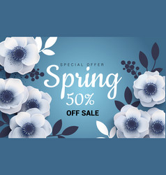 bright spring sale banner with paper flowers vector image vector image