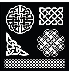Celtic white knots braids and patterns on black vector image