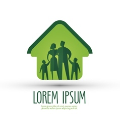 family logo design template house or happiness vector image vector image