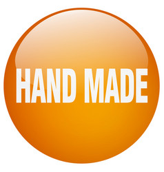 Hand made orange round gel isolated push button vector