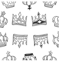 pattern of crown hand draw collection vector image vector image