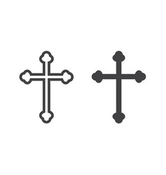 religion cross line and glyph icon easter vector image vector image