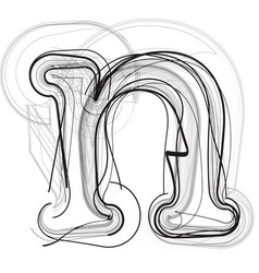 Abstract doodle letter n vector